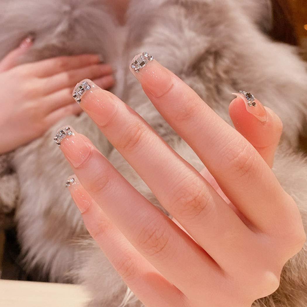 Brinote Pink Crystal False Nails French Nails Acrylic Glossy Nails Full Cover Nails Long Square Fake Nails Party Press on Nail Tips for Women and Girls(24Pcs)