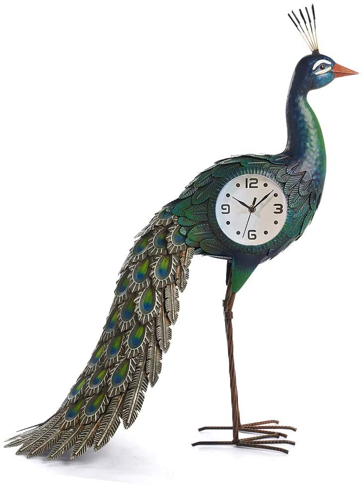 chisheen Peacock Decor Table Clocks Decorative Statue with Changeable Light for Home/Office/Bedroom/House Decoration