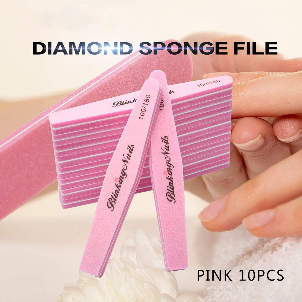 Sponge Nail File and Buffers,100/180 Grit Double Sides Professional Nail file for Manicure Pedicure 10pcs(Pink)