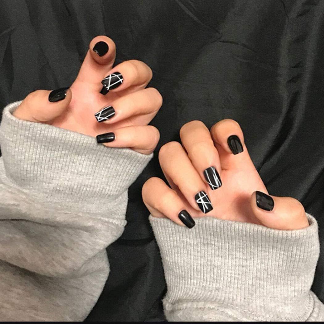 Shegirl Ballerina Nail Black Contracted line Faux Nails Wedding Party Women Charm Nail Accessories DIY False Nails Tool Acrylic Nails