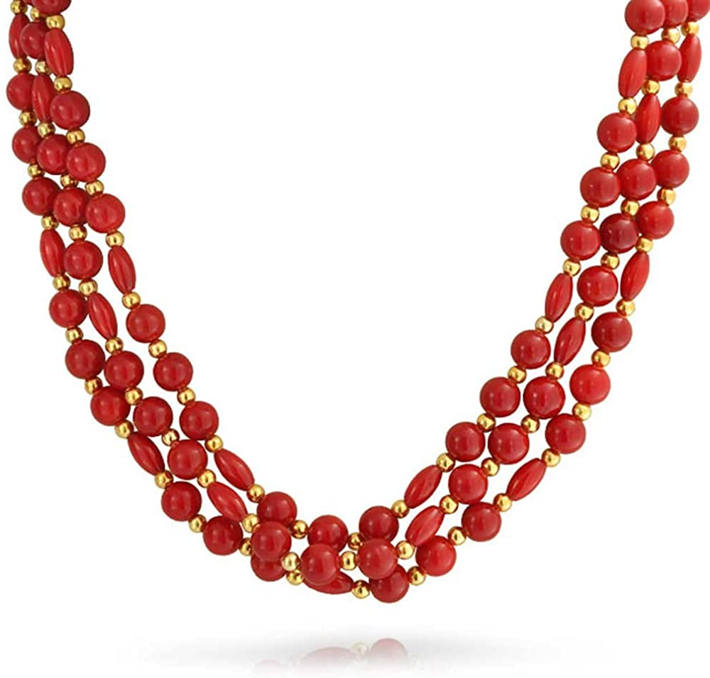 Bling Jewelry Three Multi Strand Red Orange Dyed Coral Baroque Strand Bead Necklace for Women Gold Plated Spacer 18 Inch