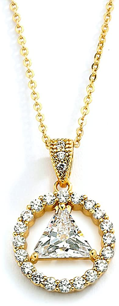 Mariell 14K Gold Plated AA Recovery Necklace CZ Unity Symbol Pendant - Great Jewelry Gift for Sober Women