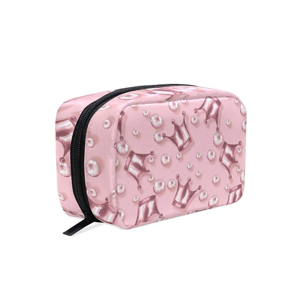 ALAZA Rose Gold Queen Crown Travel Makeup Cosmetic Case Portable Toiletry Storage Bags for Women Girls