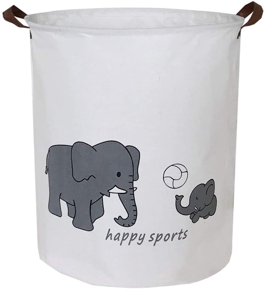 Sanjiaofen Canvas Fabric Storage Bins,Collapsible Laundry Baskets,Waterproof Storage Baskets with Leather Handle,Home Decor,Toy Organizer (Sport Elephant)