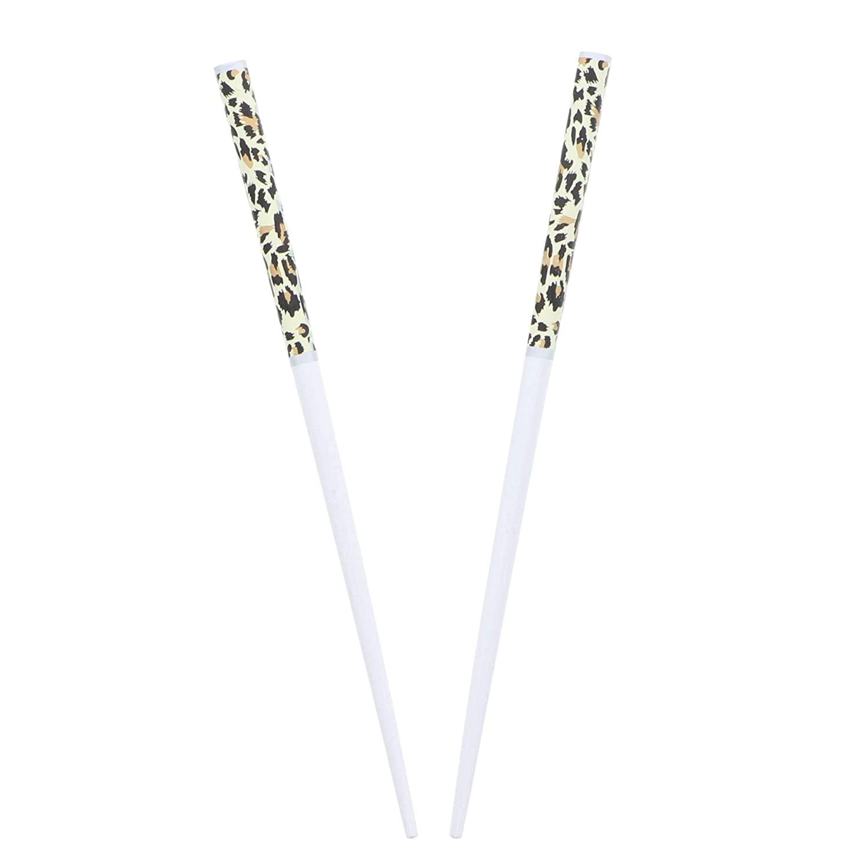 Wooden Animal Print Hair Sticks for Women - White