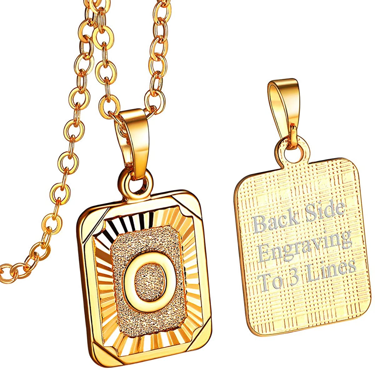 FOCALOOK Initial Letter Pendant Necklace Mens Womens Capital Letter Yellow 18K Gold Plated A-Z Golden Chain 20-22inch, with Free Custom