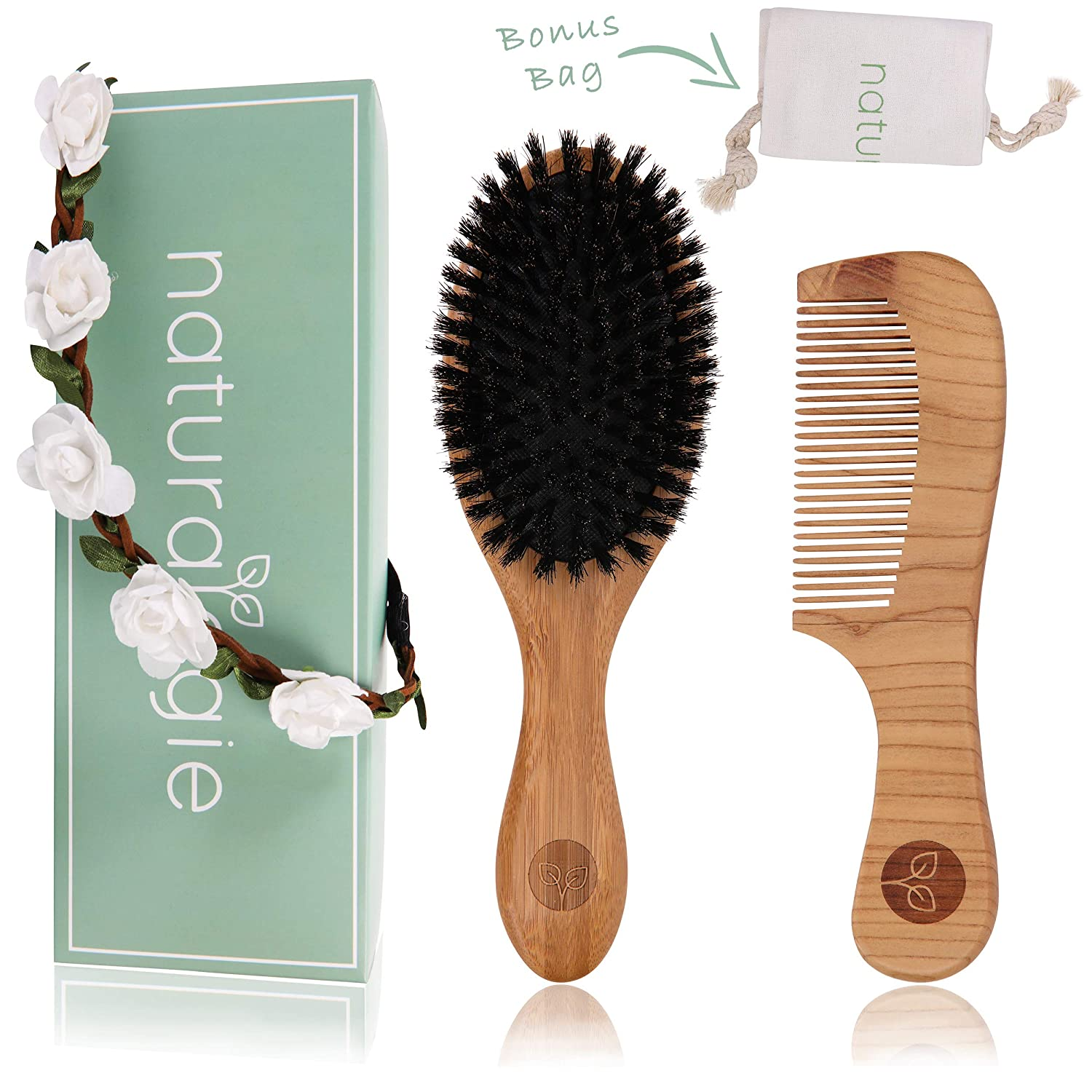 Boar Bristle Hair Brush Set by Naturalogie - Detangling Brush for Women, Kids, and Men. Includes Wooden Comb that Restores Shine and Texture To Your Hair