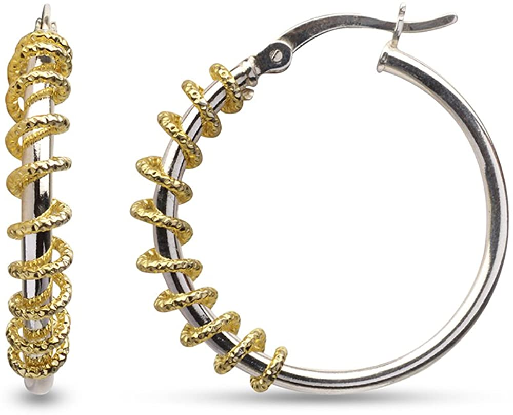 LeCalla Sterling Silver Jewelry Three Tone Diamond Cut Design Hoop Earring for Women Girl