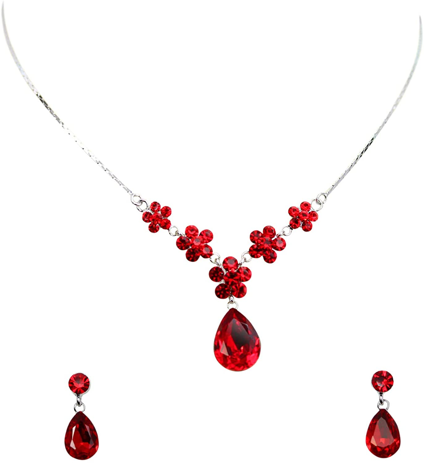 Faship Gorgeous Rhinestone Crystal Floral Necklace Earrings Set