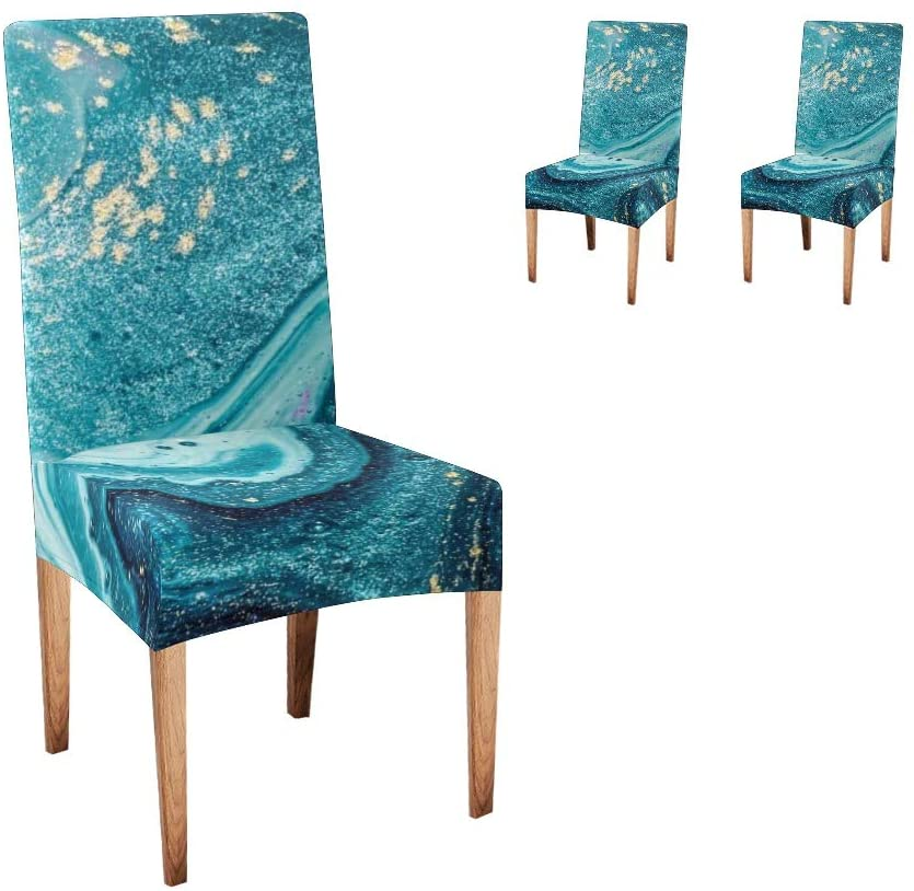 CUXWEOT Chair Covers for Dining Room Abstract Ocean Natural Marble Seat Covers Slipcovers for Party Decor (Set of 2)