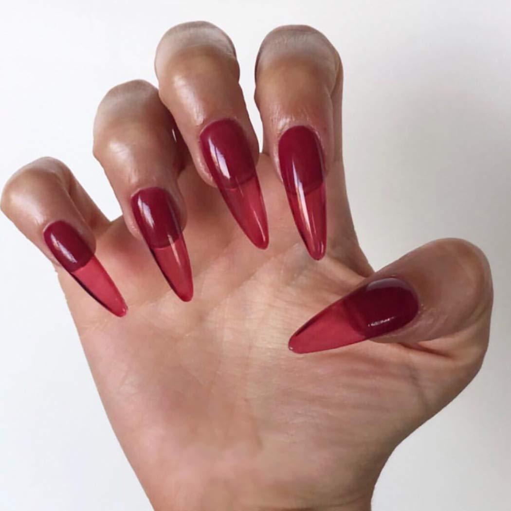 Ibliss Ballerina Press on Nails Red Long Glossy Full Cover Fake Nails Stiletto Acrylic Halloween False Nail Art for Women and Girls 24PCS