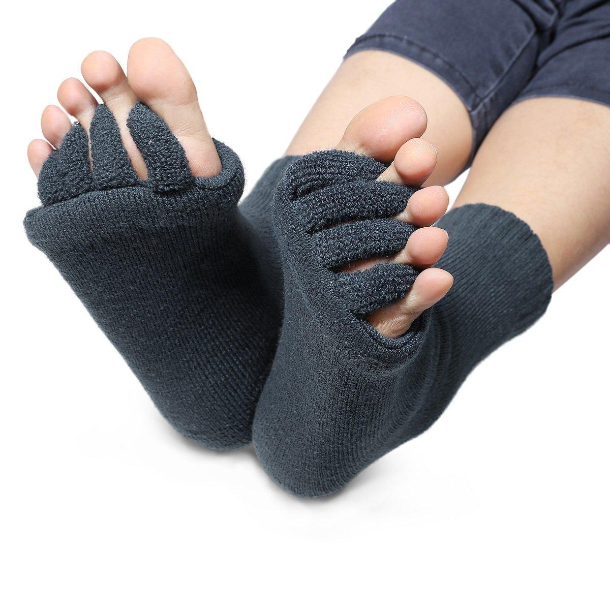 DevsWear Alignment Socks Open Toe Separator Spacer Pain Relief Yoga Gym Pedicure (NavyBlue - 1 Pair, Medium)