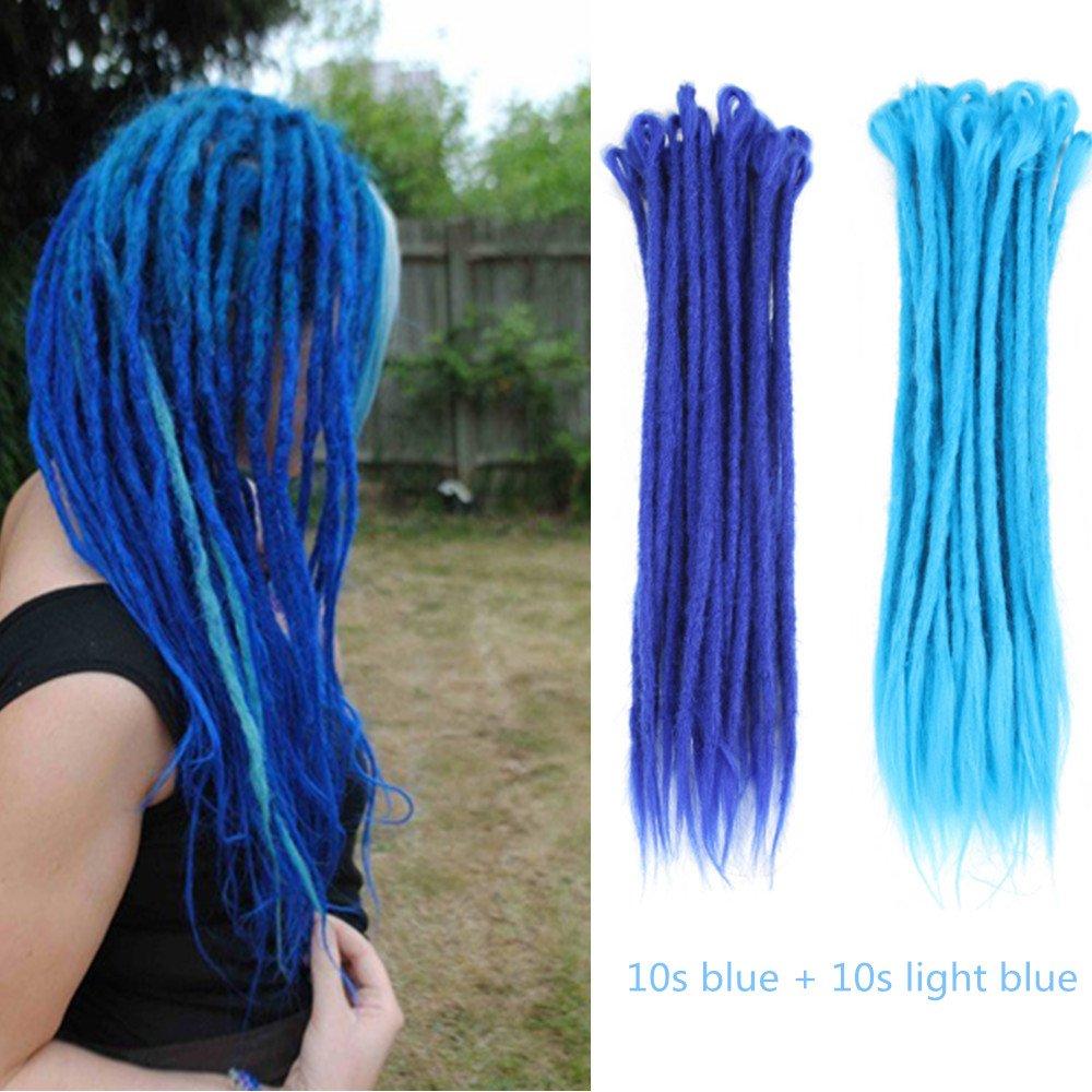 AOSOME 20 Inch/20pcs Crochet Dreadlocks Extensions Mixed Blue Color All Handmade Synthetic Hair Extensions,10pcs Blue plus 10pcs Light Blue
