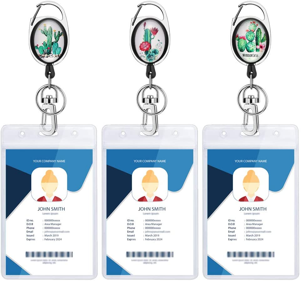 3 Pack Heavy Duty Retractable Carabiner Badge Reel, Artscope Crystal Glass ID Badge Holder with Belt Clip&Sturdy Buckle&Key Ring, Waterproof Vertical Clear ID Card Holders (Cactus)