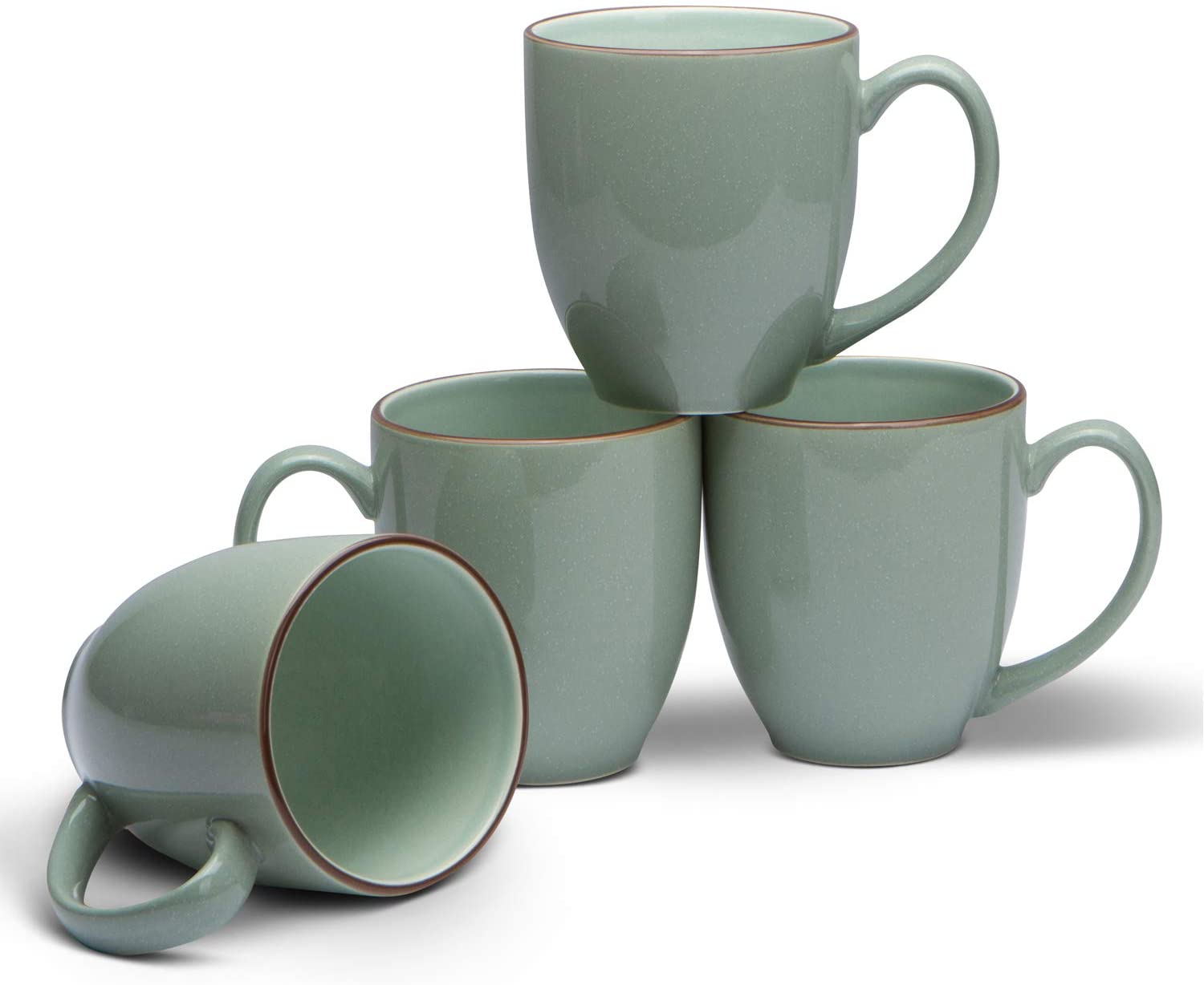 Serami 14oz Bistro Cool Green Mugs for Coffee or Tea. Large Handles and Ceramic Construction, Set of 4