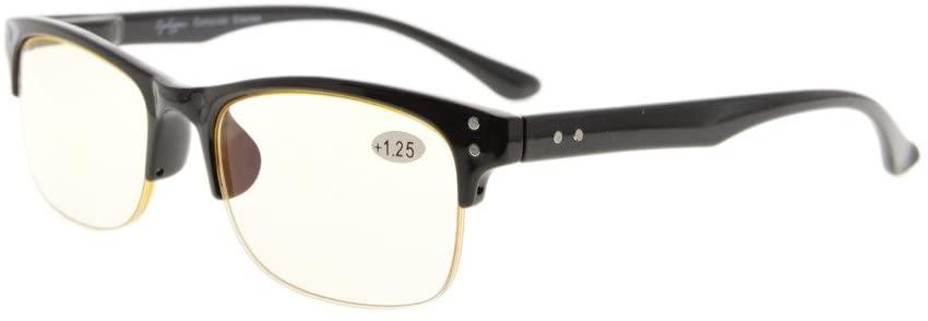 Eyekepper Plastic Frame Spring Hinges Half-Rim Computer Reading Glasses Readers Eyeglasses (Yellow Lens, 2.50)