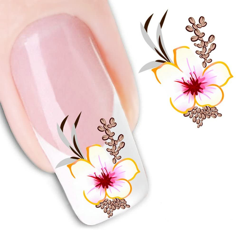 LEECOCO 5 PCS 3D Self-adhesive Beauty Nail Art Water Transfer Decal Sticker Sexy Lipstick Series Pattern Nail Art Sticker Decorations for Girls,Yellow Flowers XF1551
