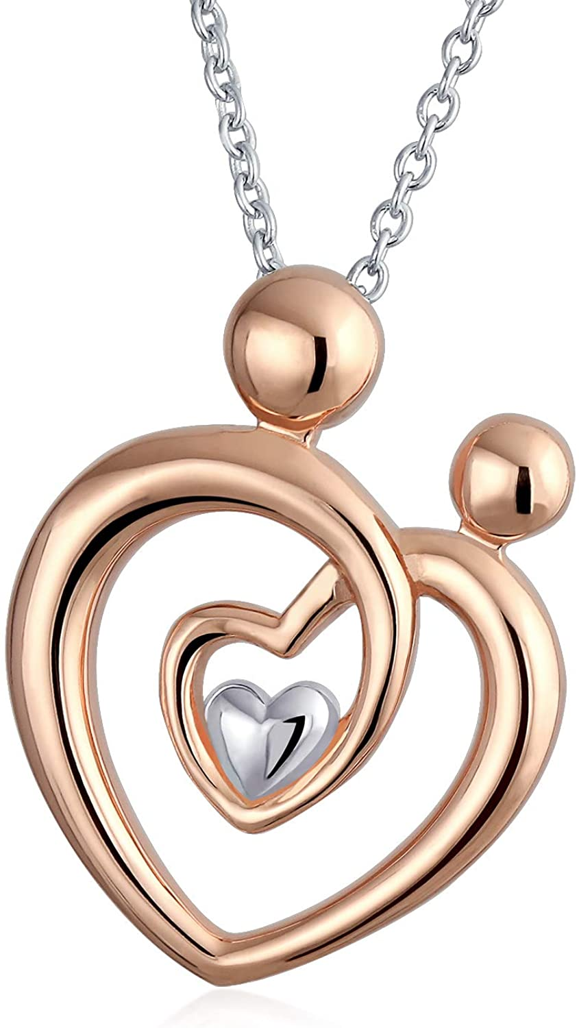 Mother Loving Family Father Heart Pendant Necklace For Women Rose Gold Plated 925 Sterling Silver
