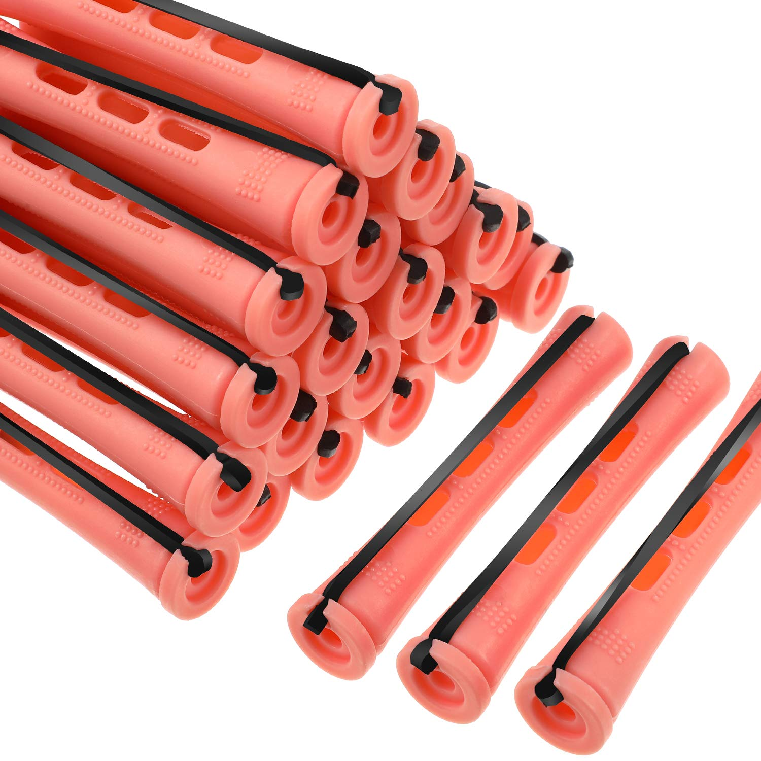 60 Pieces Hair Perm Rods Non-Slip Hair Rollers Plastic Cold Wave Rods Short Curlers Rod with Elastic Rubber Band Perming Rods Curlers Hairdressing Styling Tool (Orange, 0.5 Inch)