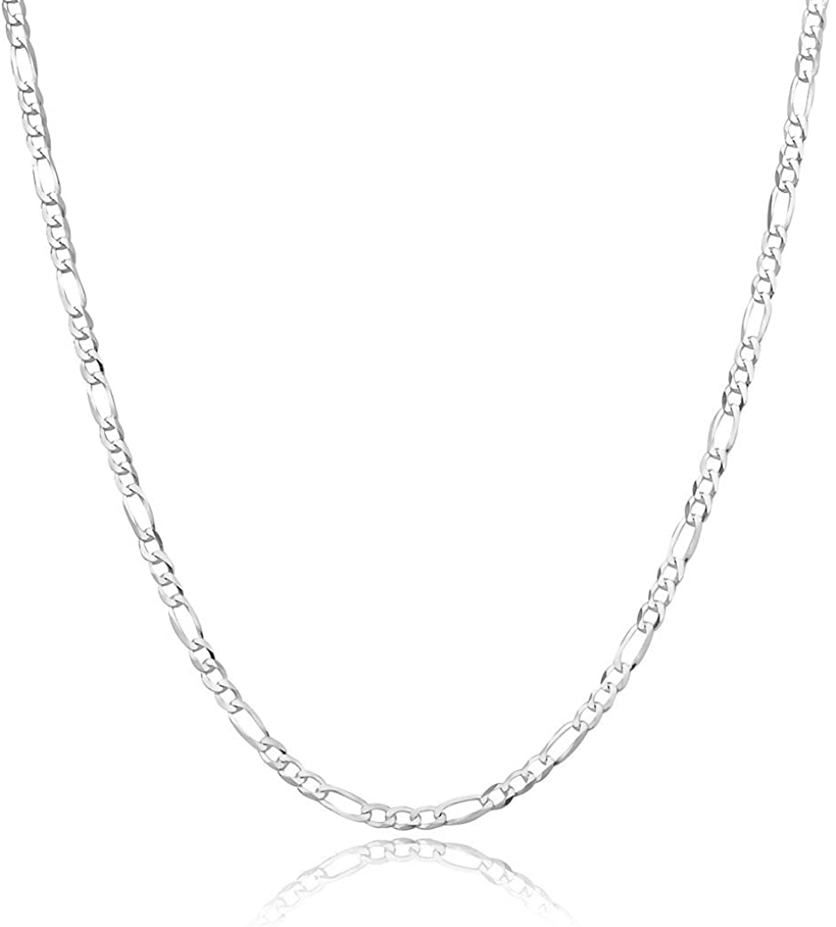 Sterling Silver Chain For Men and Women, 925 7MM Figaro Chain Sterling Silver, Figaro Link Chain For Men and Women, Polishing Cloth and Velvet Gift Pouch Included