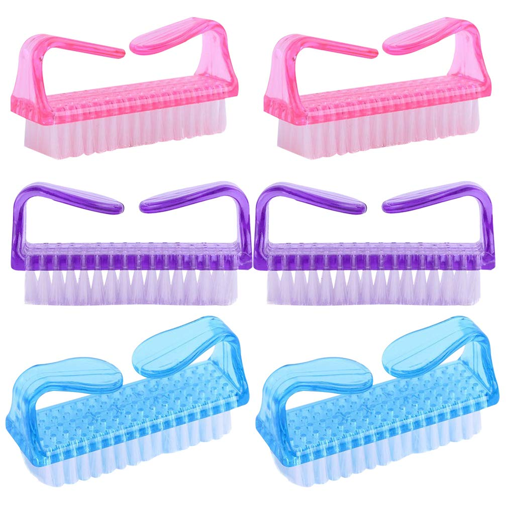 Minkissy 12pcs Handle Grip Nail Brushes, Fingernail Scrub Cleaning Brushes Kit, Pedicure Brushes for Toes and Nails (Pink, Purple, Blue)