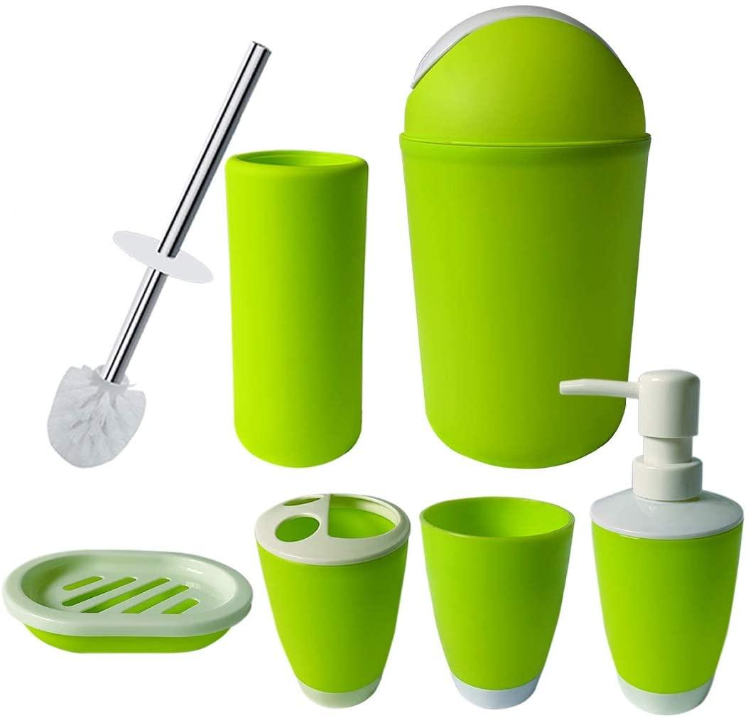 UNBAND Bathroom Accessories Set,6 Pcs Plastic Gift Set Toothbrush Holder,Toothbrush Cup,Soap Dispenser,Soap Dish,Toilet Brush Holder,Trash Can,Tumbler Straw Set Bathroom (Apple Green)