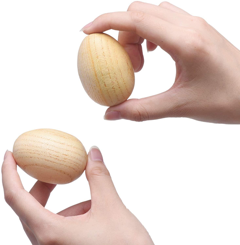 2 Pcs Natural Wood Egg Shaker Musical Percussion Instrument
