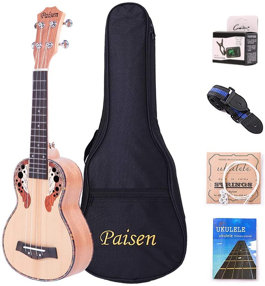 Paisen Soprano Ukulele 21 inch Hawaii Spruce Ukuleles with Tuner Capo Gig Bag Full set accessories for Ukelele Beginners Kid Adult