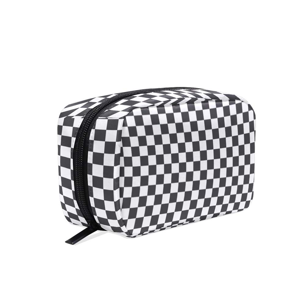 ALAZA Dark Gray Checkered Travel Makeup Cosmetic Case Portable Toiletry Storage Bags for Women Girls