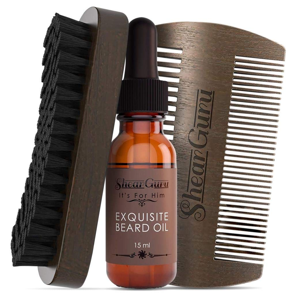 Natural Complete Care Beard Grooming Kit for Men– Brush Set 100% Boar Bristle Bamboo Brush, Handmade Wood Comb and Beard Oil Helps Softening & Conditioning Itchy beards Great GENTLEMEN'S Gift sets(regular)
