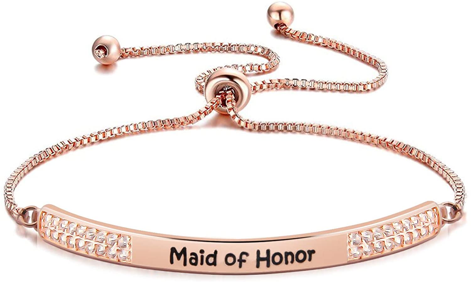Maid of Honor Sister Bracelet with Slider Bridal Party Thank You Gift