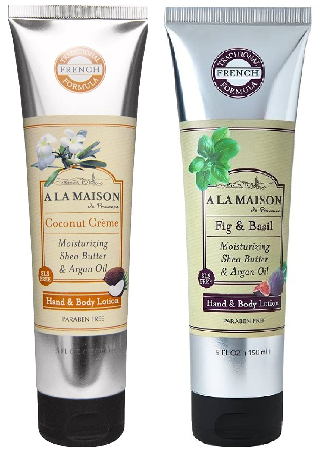 A La Maison Hand & Body Lotion 2 Pack, Fig & Basil and Coconut Creme, 1 tube of each