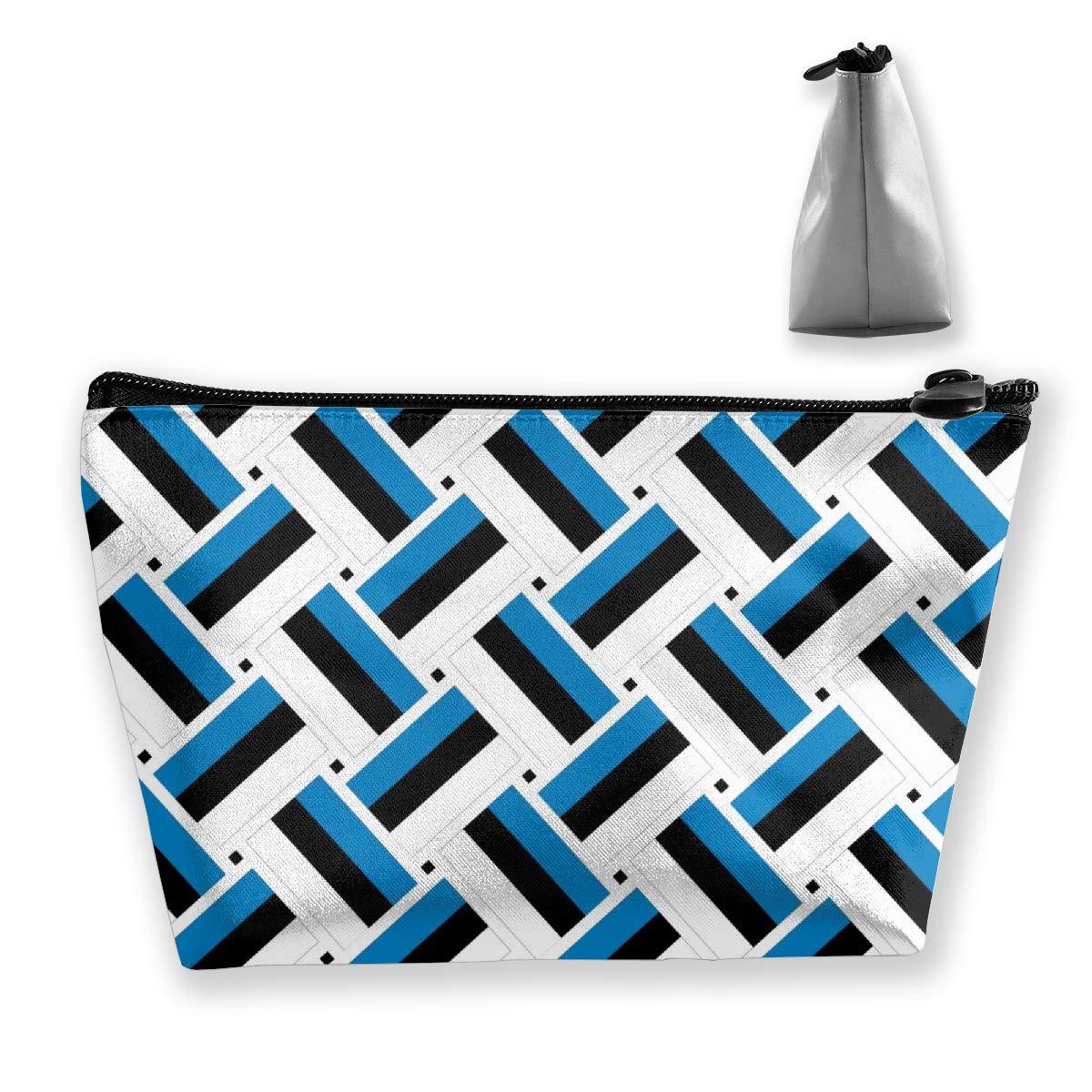 Lightweight Multi-Purpose Zipper Trapezoidal Storage Bag Organizer Pouch Small Cosmetic Makeup Bag Coin Cellphone Purse Pencil Pouch (Estonia Flag Weave)