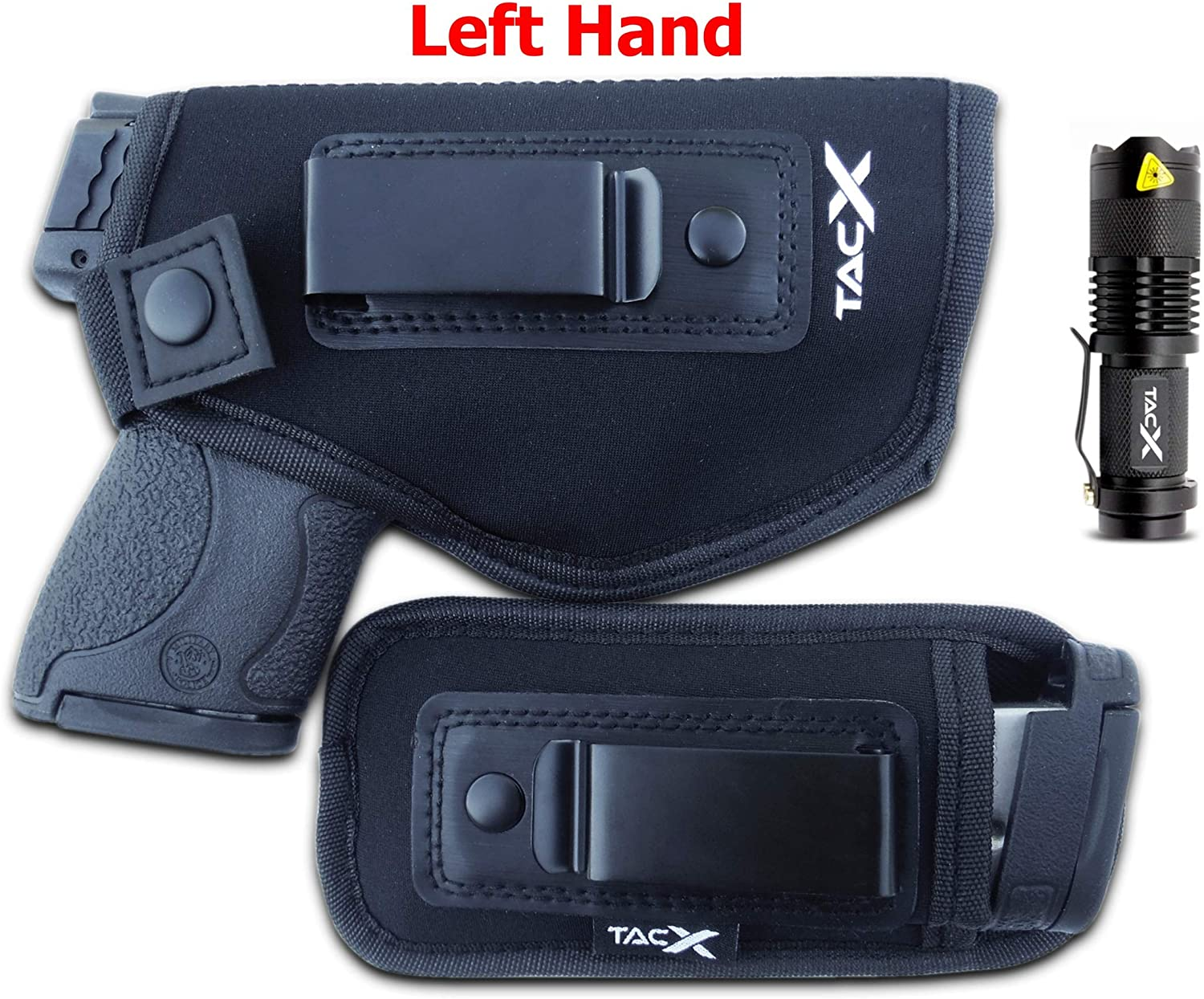 TacX Pro Gear Universal IWB Holster | Concealed Carry | Inside The Waistband Bundle | Bonus Spare Magazine Pouch | Flexible, Breathable, Neoprene | S&W M&P Shield 9/40 1911 XDS Taurus Glock