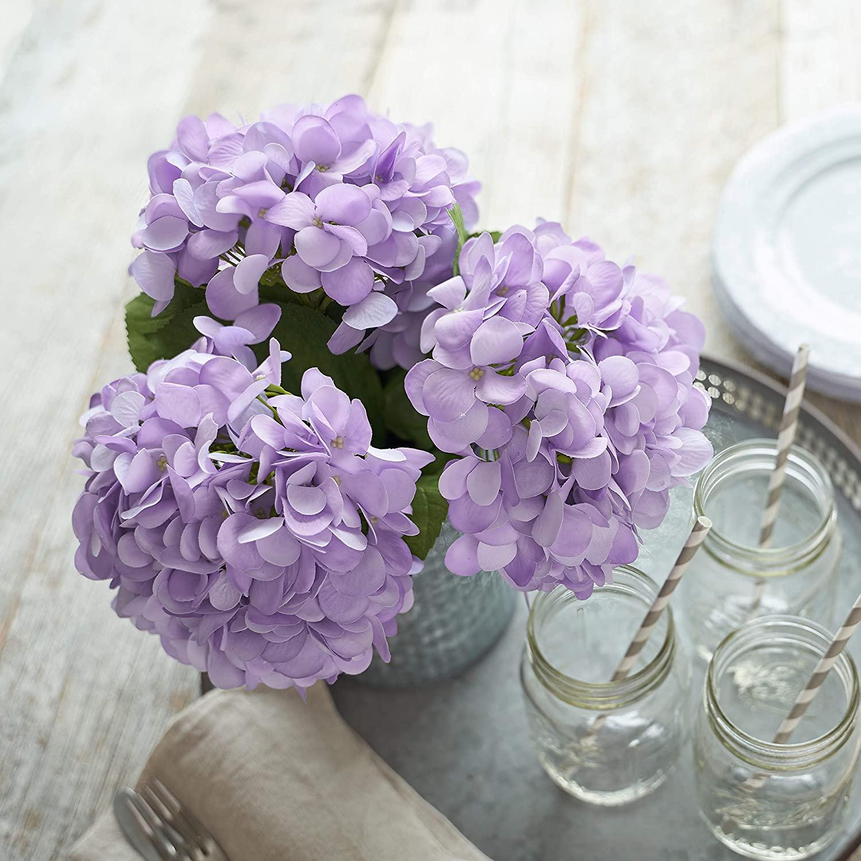 Artificial Hydrangea Silk Flowers for Wedding Bouquet, Flower Arrangements - 3 Stems Per Bundle (Purple)