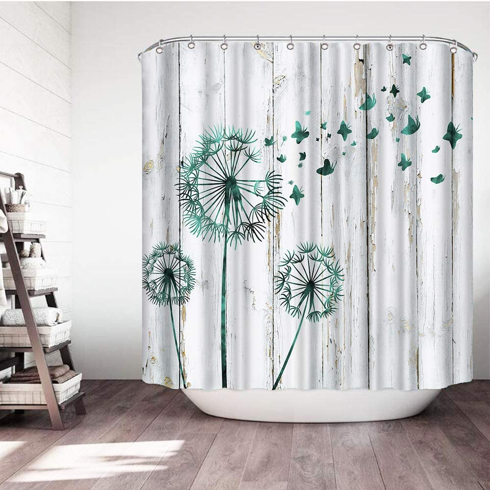 VividHome Dandelion Shower Curtain Teal Rustic Country Chic Shower Curtain Farmhouse Wood Board Decor Waterproof Fabric Decorative Bath Curtains 72x72 Inch with 12 Hooks