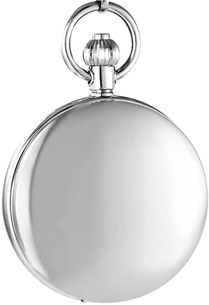 OGLE Vintage Waterproof Mirror Chain Black Fob Self Winding Automatic Skeleton Mechanical Waterproof Pocket Watch