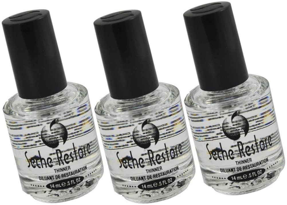 3 X Seche Vite Restore Polish Thinner Professional kit only thinner to thin a bottle of Seche vite to its original consistency. Will not diminish shine or dull colors. Size 0.5 oz, 14 ml