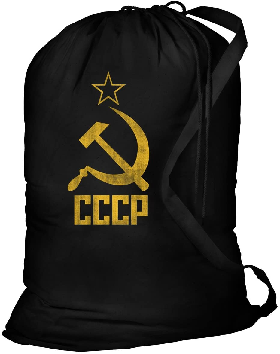 Cccp Laundry Bag - 100% Cotton Canvas Black Soviet Sack