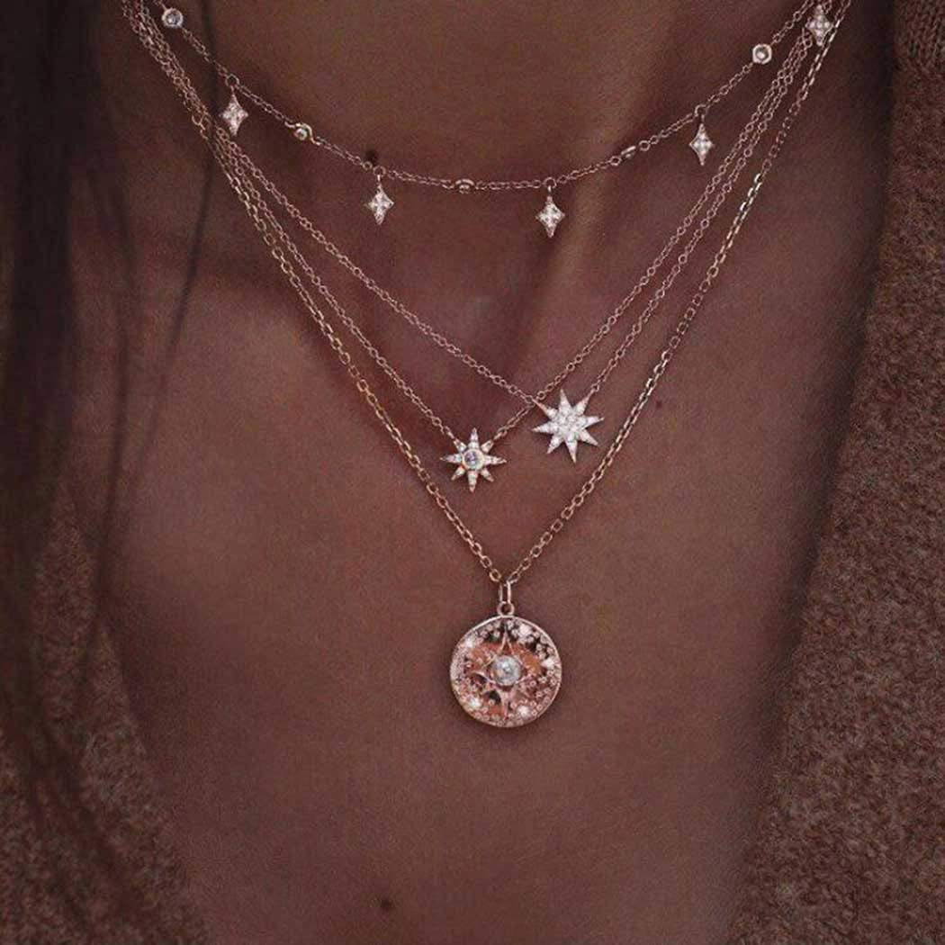 Dresbe Boho Layered Pearl Necklace Gold Rhinestones Necklaces Star Pendant Neck Chain Beach Coin Neck Jewelry Accessories for Women and Girls