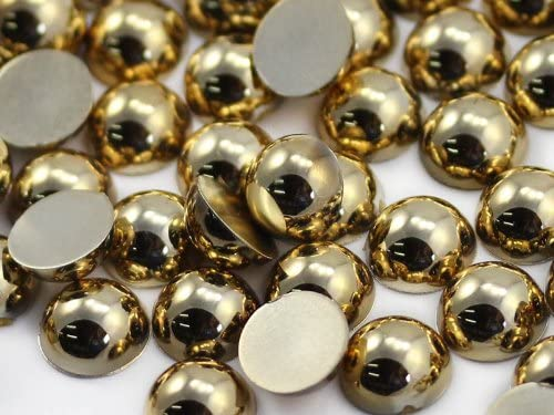 9mm Gold Flat Back Acrylic Round Pearl Cabochons Plastic Rhinestones Pearl Gems Embellishments for Jewelry Crafts Costumes Invitations Cosplay 50 Pcs