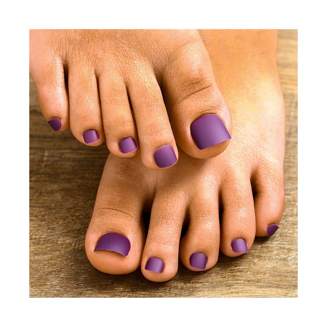 Fstrend 24Pcs Matte Fake Toenails Purple Full Cover Acrylic Fake Nails for Toes False Nails Press on Toe Art Tips for Women and Girls (Purple)