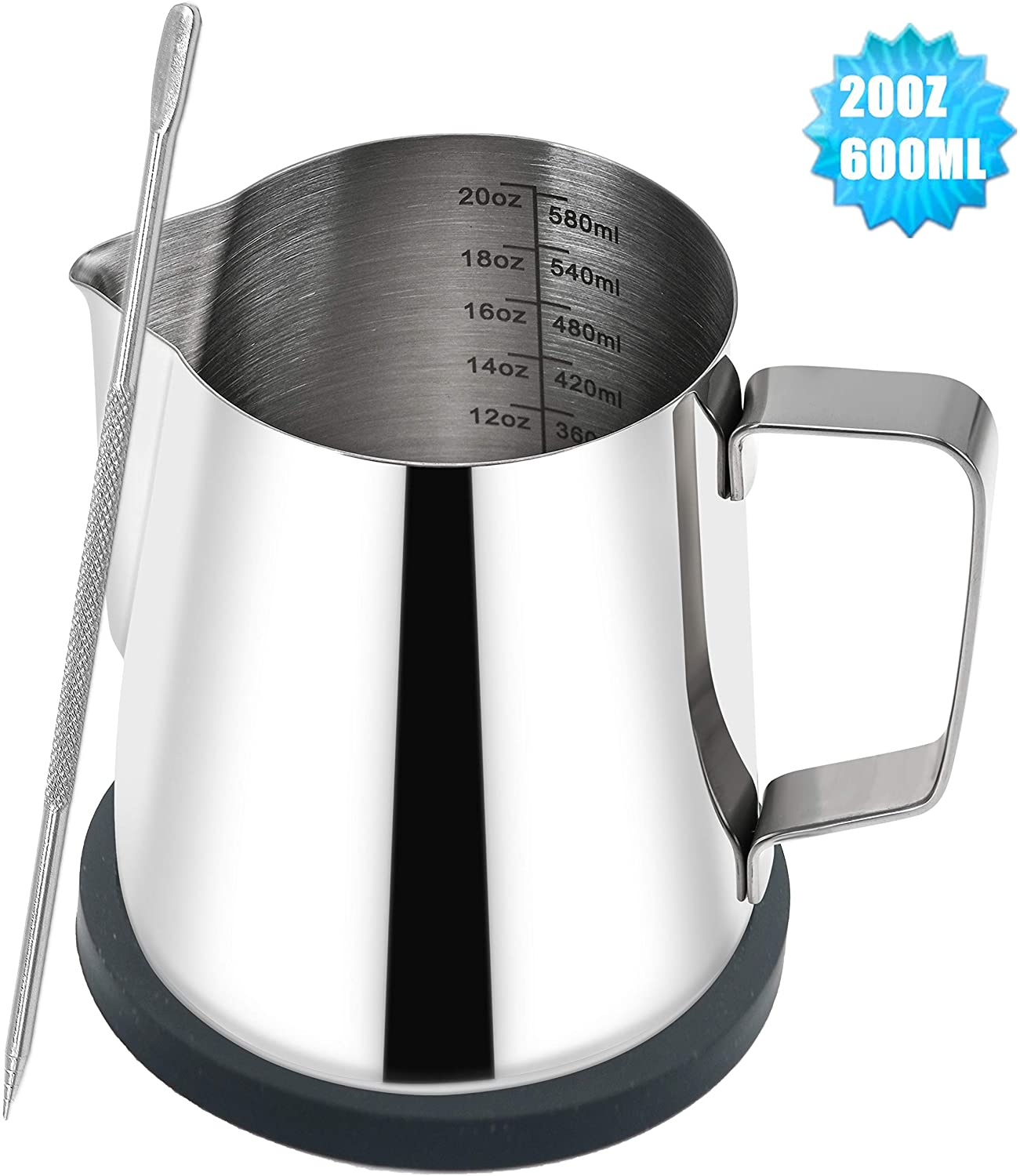 Espresso Steaming Pitcher 20OZ Stainless Steel Milk Frothing Cup -for Espresso Machines, Latte Art, Milk Coffee, Cappuccino 20oz/600ml