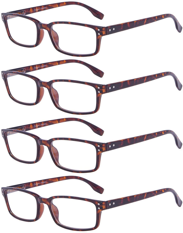 Reading Glasses Women - 4 Pack Comfort Readers Men(Tortoise,+1.75)