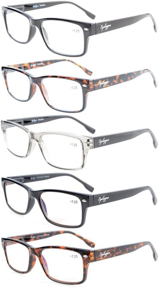 Eyekepper 5-Pack Readers Stylish Spring Hinges Reading Glasses Included 2 Computer Glasses +2.25