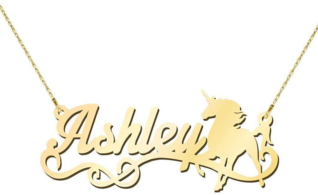 14K Gold Unicorn Personalized Name Necklace by JEWLR