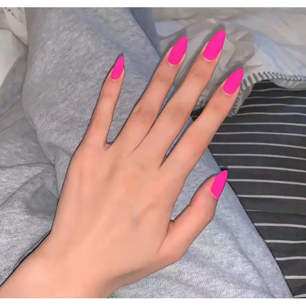 Aiyuan Matte Press on Nails Pink Long Almond Sharp Fake Nails Tips Full Cover Ballerina False Nails for Women and Girls (24Pcs)