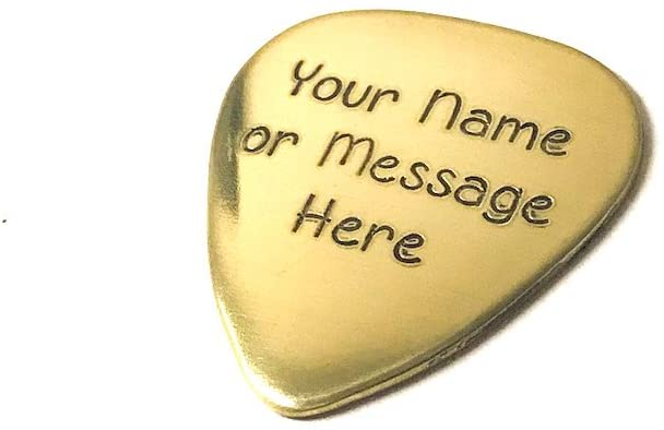 Guitar Pick - Custom Any Message - Personalized Brass Guitar Pick - Custom order