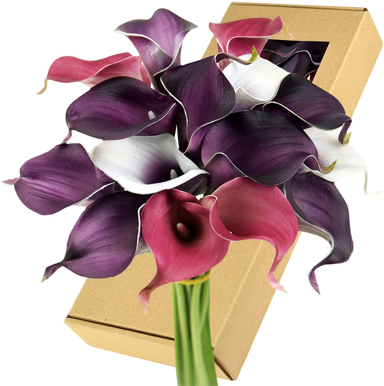 FiveSeasonStuff Real Touch Calla Lily Artificial Flowers Wedding Bridal Bouquet | Floral Arrangements | 15 Calla Lilies (Joyful Purple Mix)
