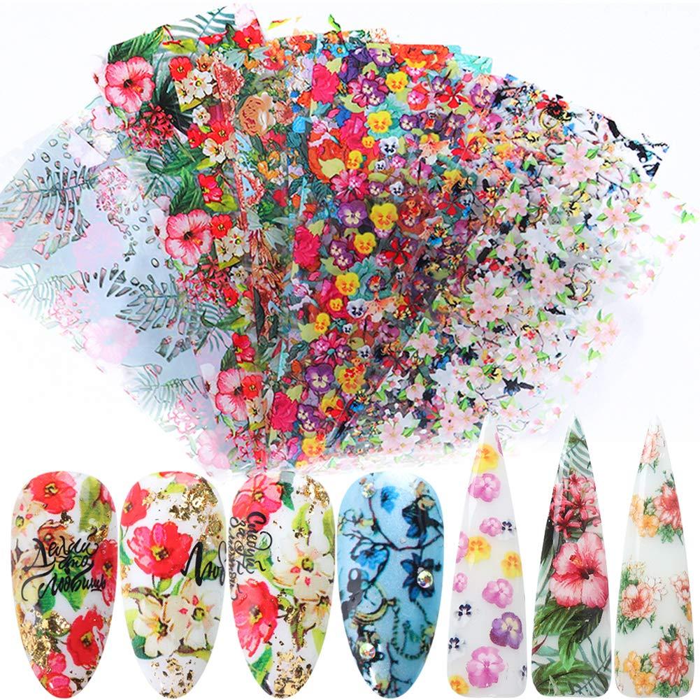 Nail Foils Stickers Leaf Flowers Nail Art Stickers Foil Transfer Nail Decals 10 Rolls Starry Sky Foil Nail Art Designs Manicure Tips Wraps Transfer Stickers for Women Fingernails DIY Decoration